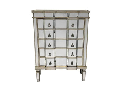 Mirrored chest of drawers in antiqued silver finish edges