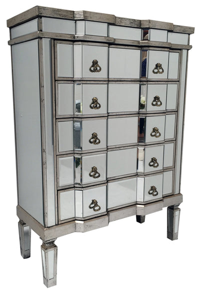Mirrored chest of five drawers in antiqued silver finish edges, view from left front angle