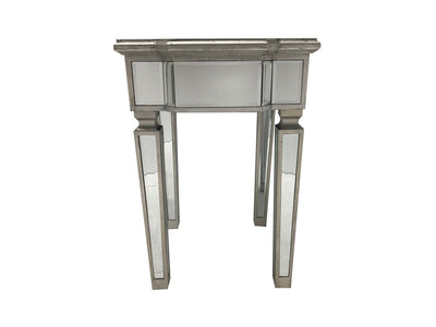 Mirrored Side Table With Vintage Edging And Glass Top Charleston