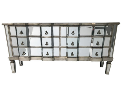 Charleston glass chest of six drawers, front view