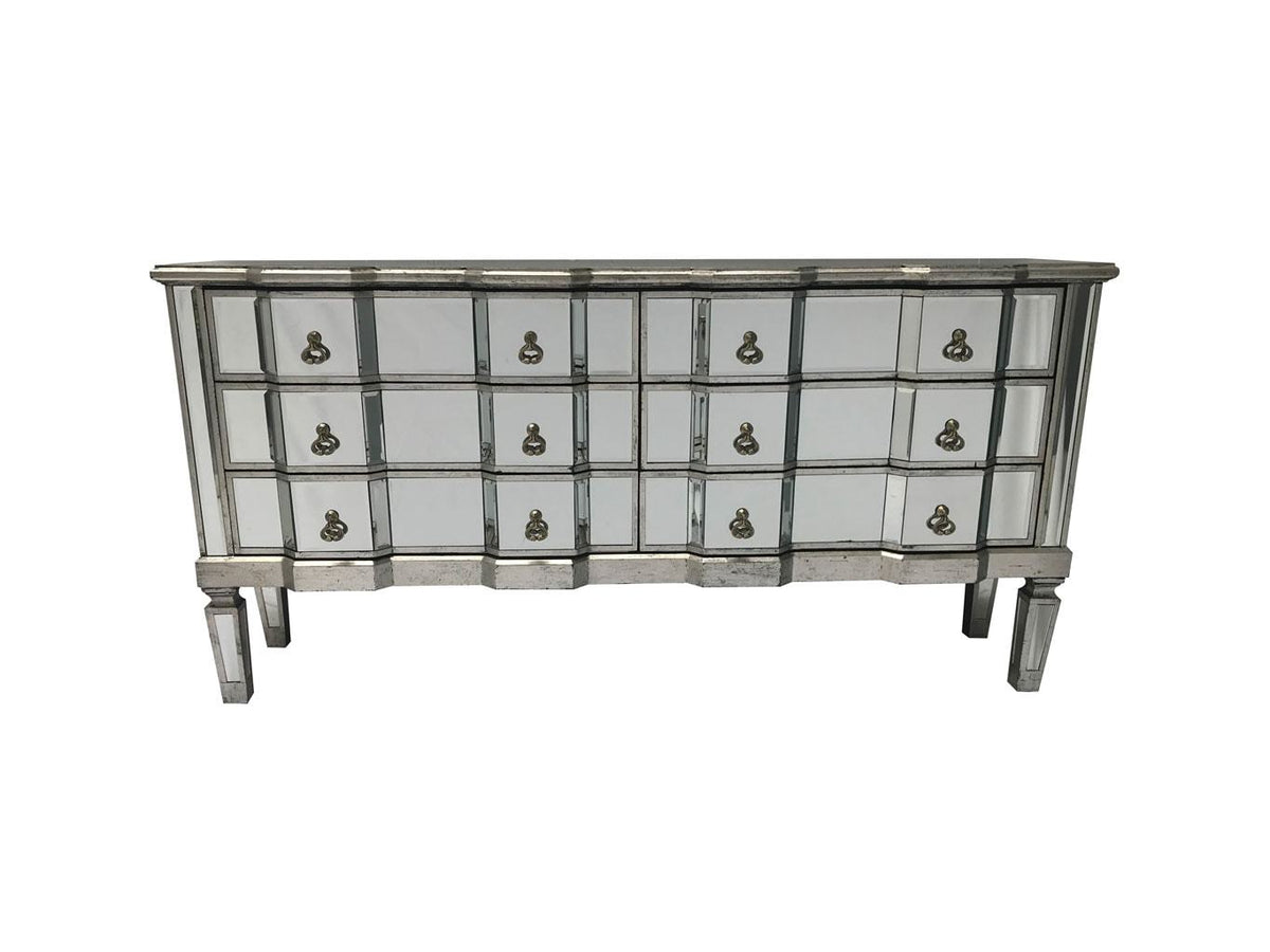 Charleston mirrored long chest, front view