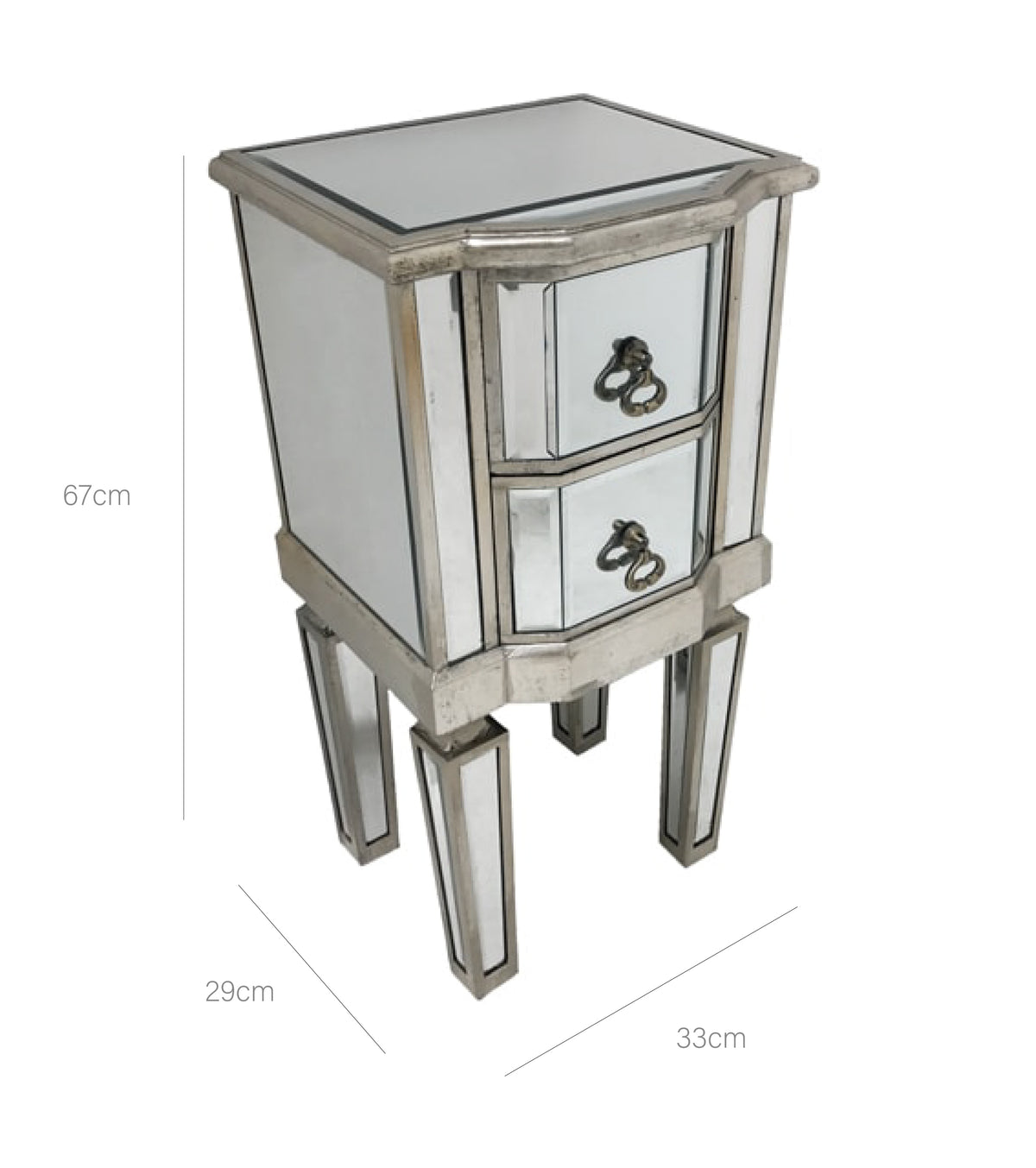 Mirrored Bedside Table » 2 Drawers