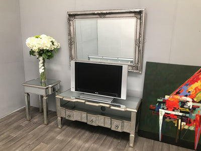 Charleston Mirrored Media Unit with 3 Drawers and 1 shelf