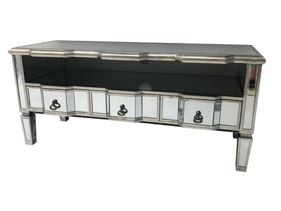 Mirrored TV unit entertainment system with 3 drawers and diamante handles