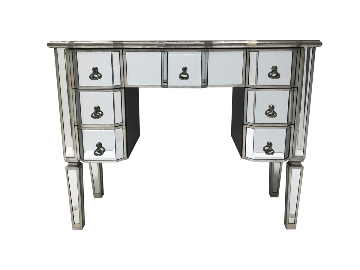 Charleston Kneehole Mirrored Dressing Table with 7 Drawers, front view