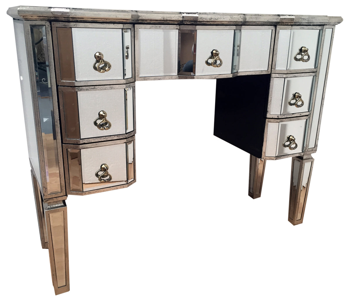 Charleston Kneehole Mirrored Dressing Table with 7 Drawers, front right angle