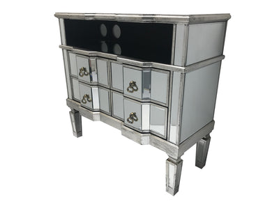 Mirrored TV entertainment unit with a shelf and four drawers, view from the top left angle