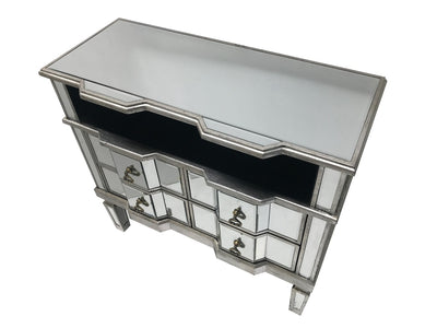 Mirrored TV Unit With 4 Drawers And A Shelf Silver Finish Charleston