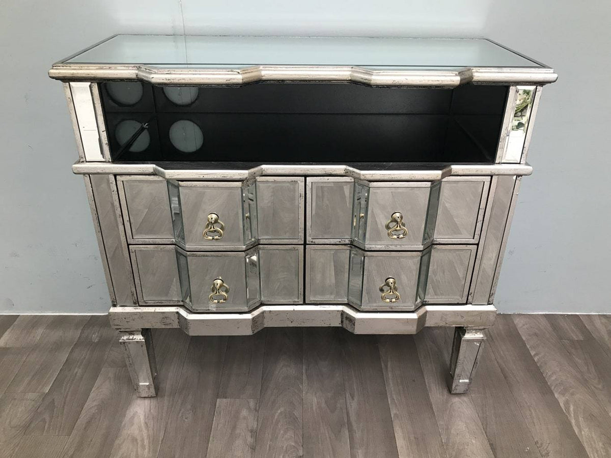 Mirrored TV cabinet With Four Drawers And A Shelf - Charleston Collection