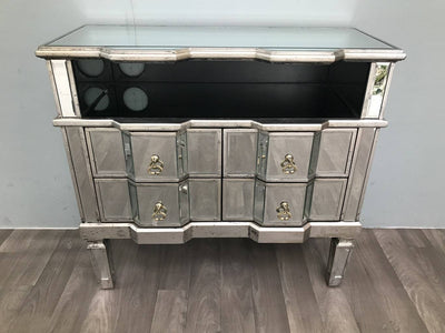 Mirrored TV Table With Four Drawers And A Shelf - Charleston Collection