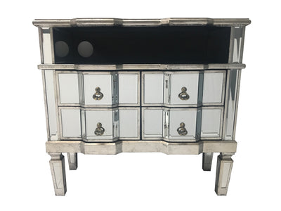 Mirrored TV Unit with four drawers and a shelf above