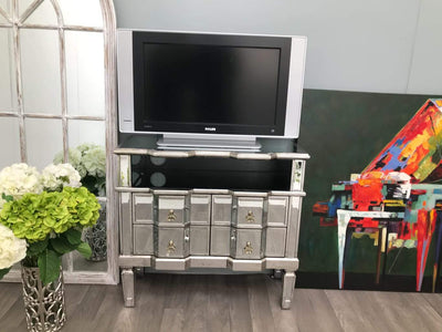 Mirrored Media Unit With Four Drawers And One Shelf - Charleston Collection