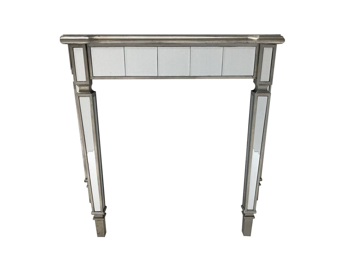 Slim mirrored console table, front view