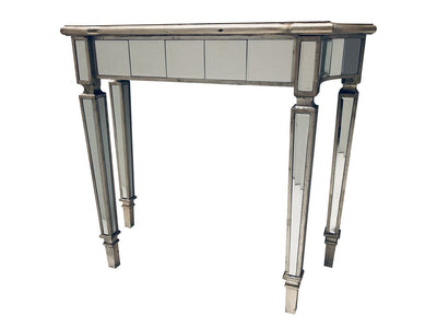 Glass console table, view from left front angle