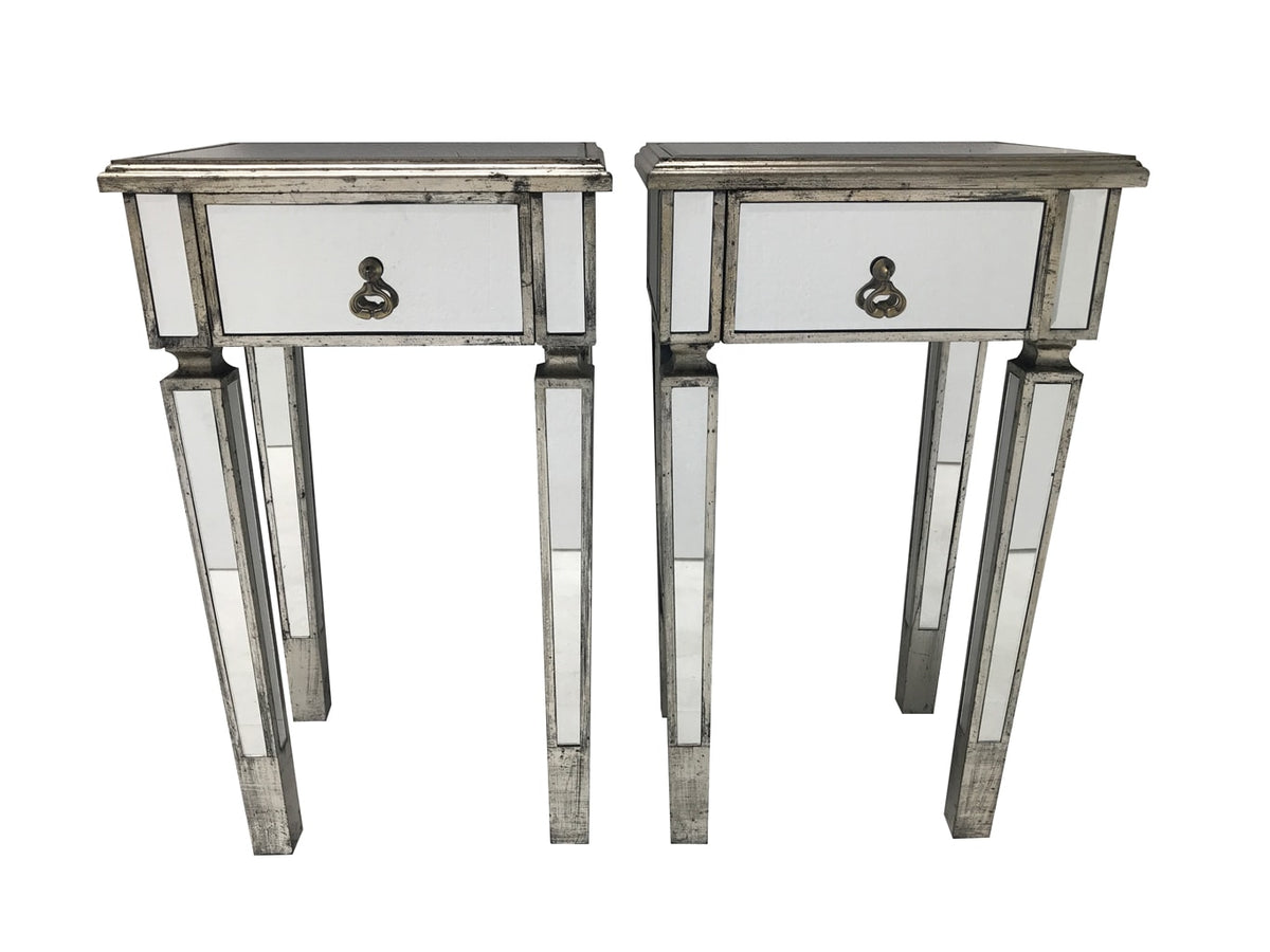 Mirrored Side Tables » Single Drawer Slim Bedsides