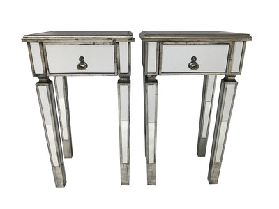 Mirrored Side Tables - 2 Slim Bedsides with Drawer Silver Finish