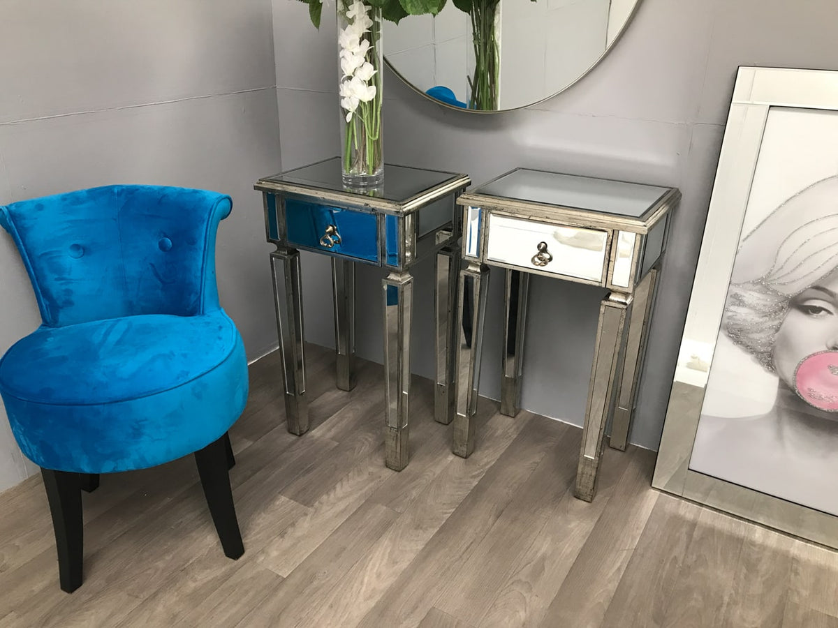 Two Mirrored Side Tables with 1 Drawer in Silver Finish - Charleston Collection