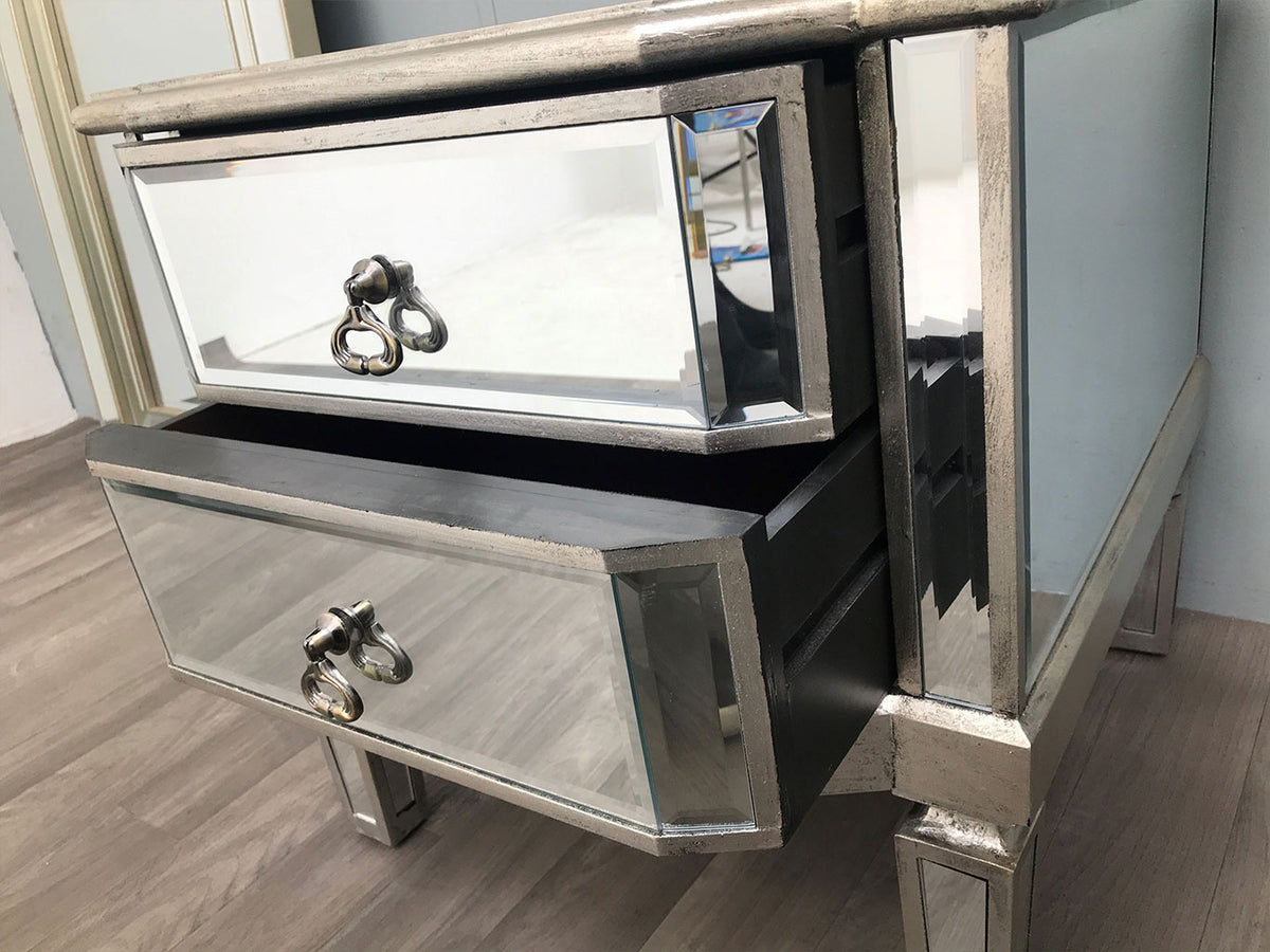 Mirrored Bedside Table » 2 Drawers » Silver