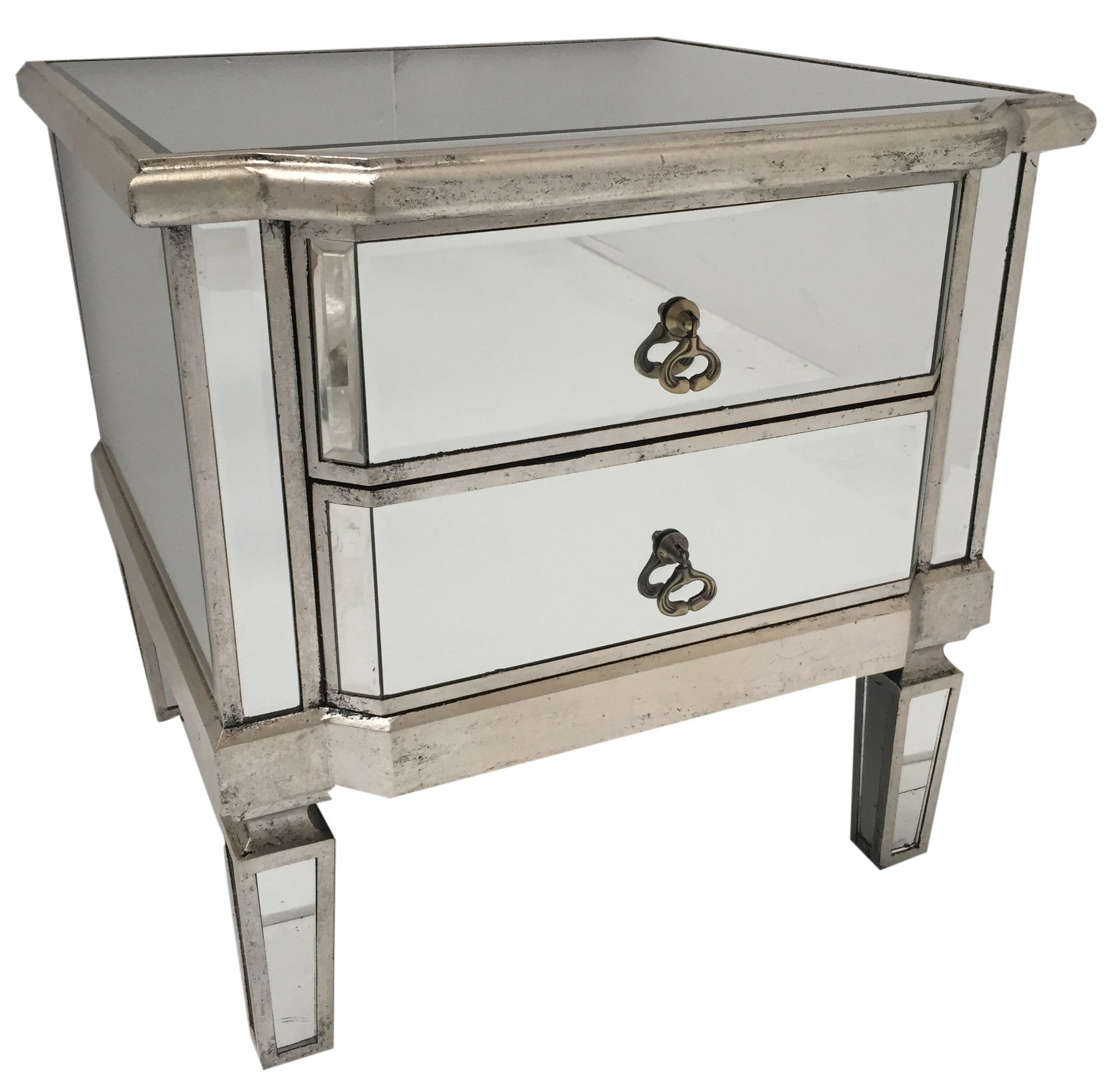 Mirrored Bedside Table 2 Drawers Vintage Silver Finish