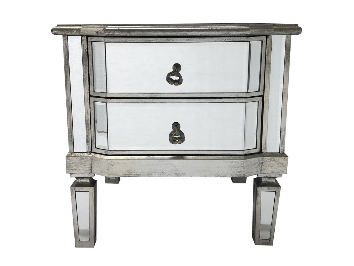 Mirrored Bedside Table 2 Drawers Vintage Silver Finish Charleston