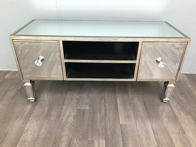 Mirrored Media Unit With two Drawers and Shelves - Hollywood Collection