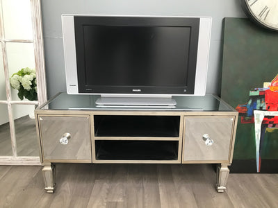 Mirrored Media Stand With two Drawers and Shelves - Hollywood Collection