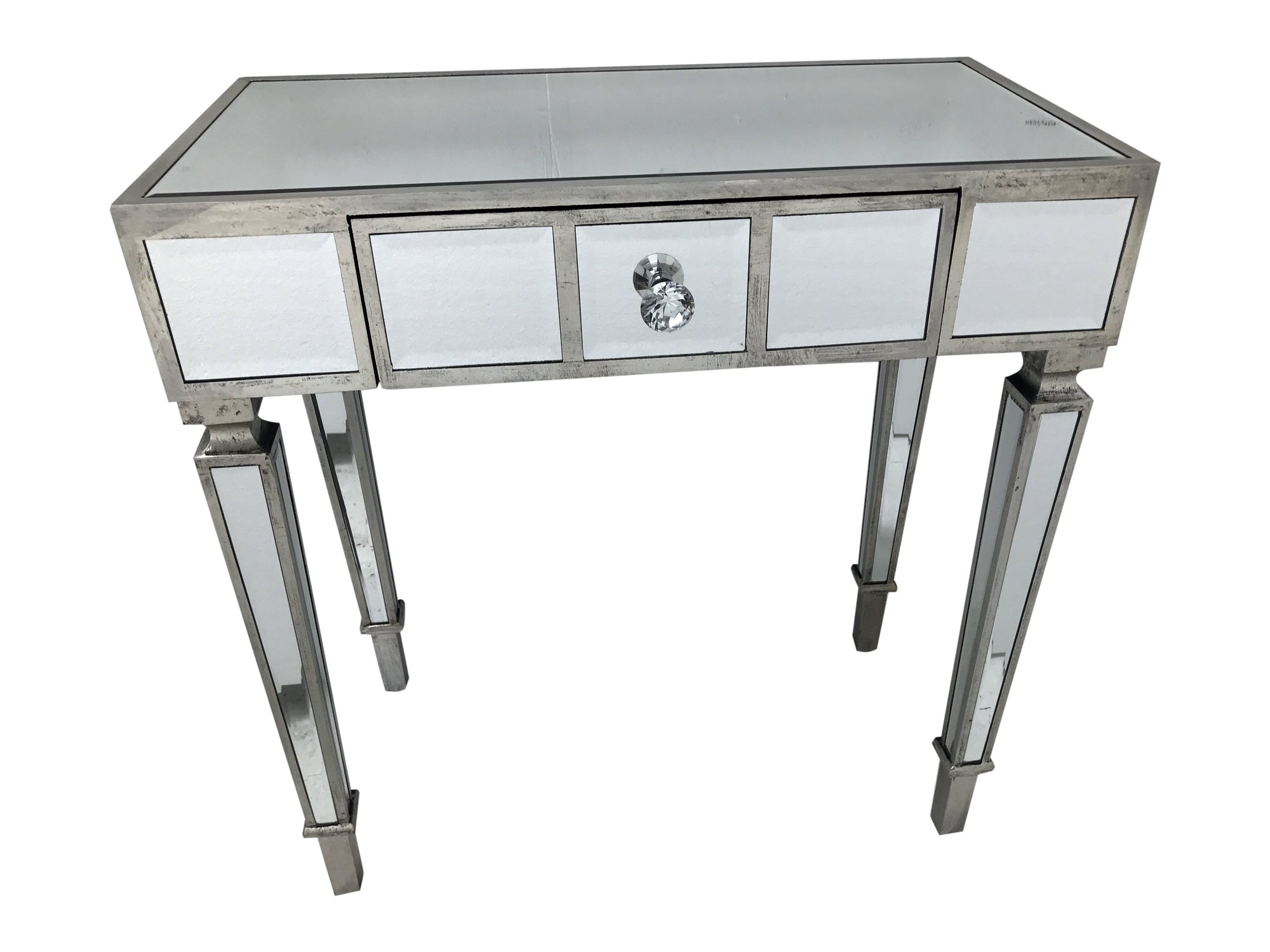 Glass Console Table with single drawer and diamante handle