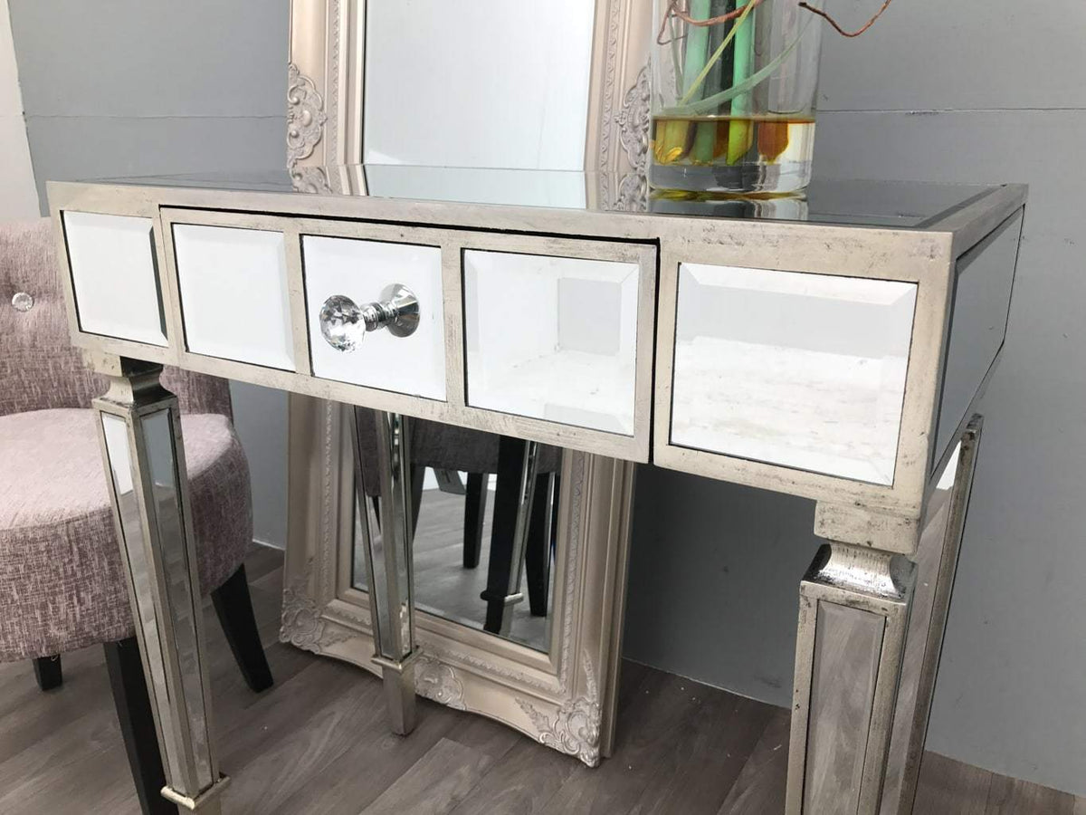 Mirrored Side Table with One Drawer with crystal knob - Hollywood Collection