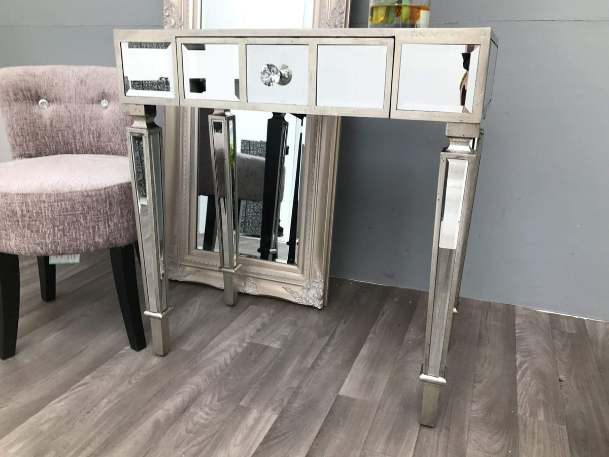 Mirrored Dressing Table with 1 Drawer and diamante handle  - Hollywood Collection