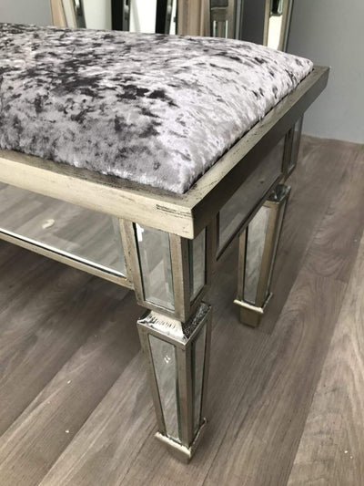 Mirrored Vanity Bench for Dressing Table - Charleston Collection