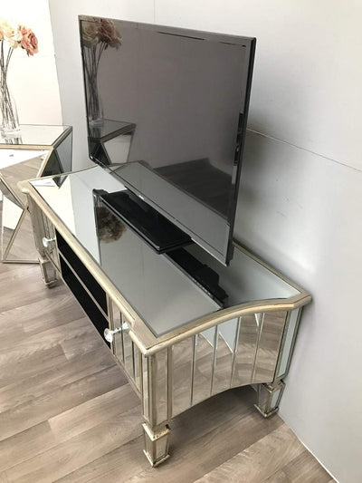 Mirrored TV Unit with 2 Shelves and 2 Drawers - Marbella Collection