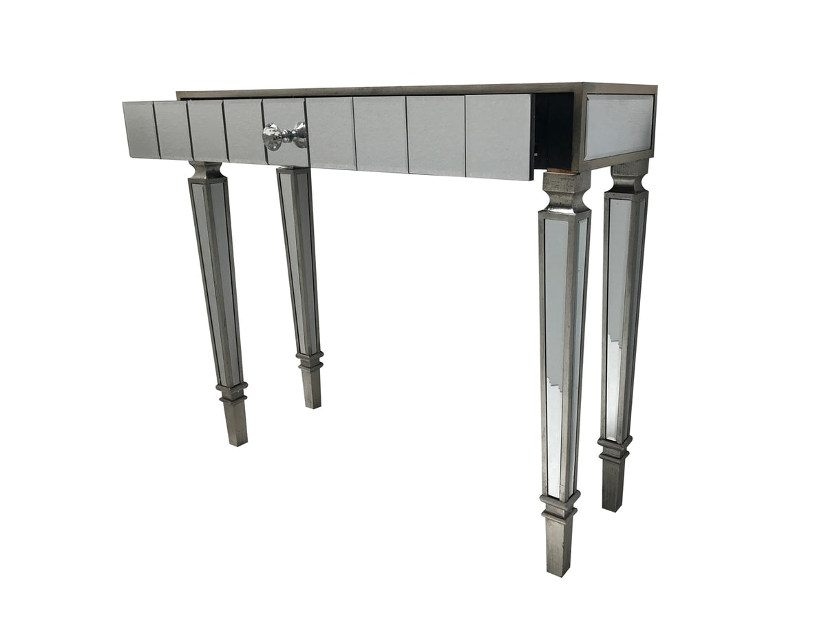 Glass Console Table with open drawer