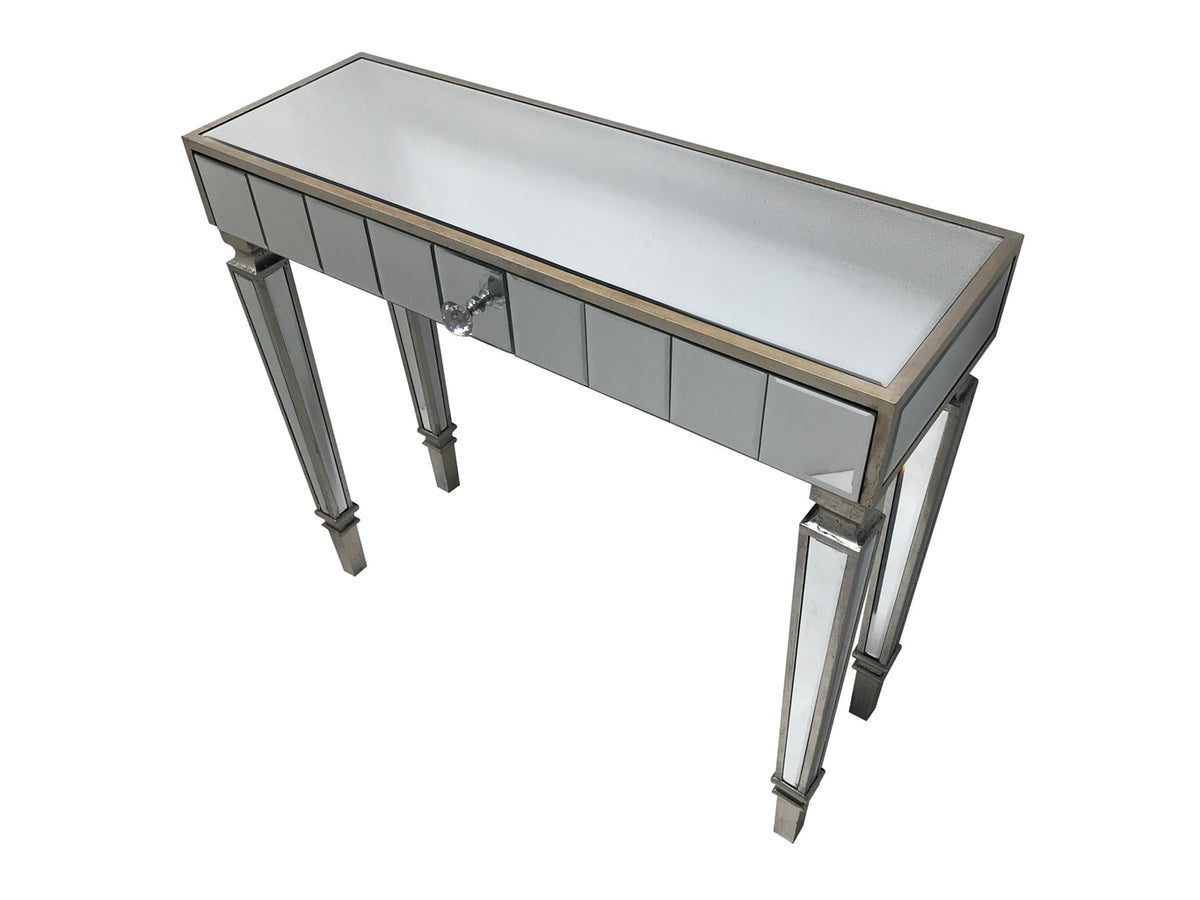 Glass Table with one drawer and diamante handle, view from the top left front angle