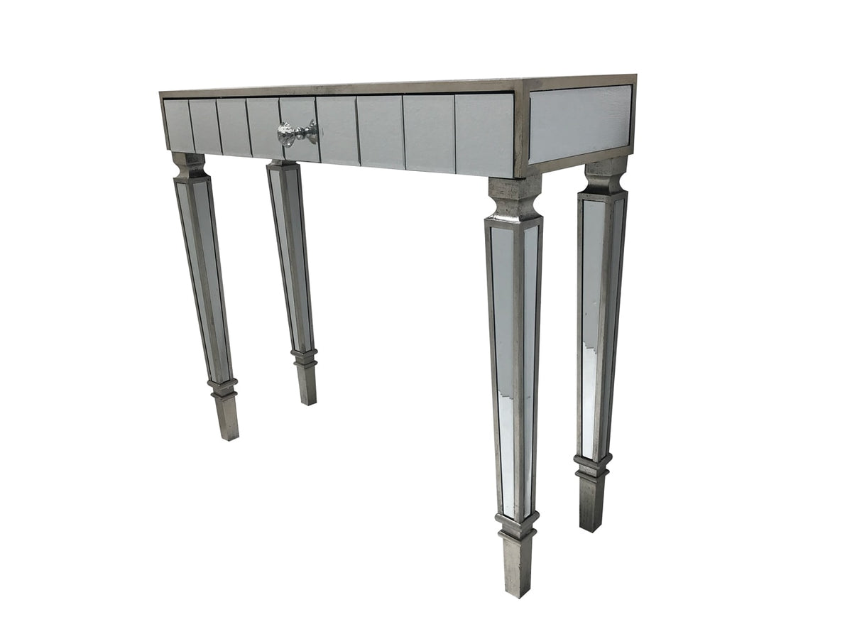 Mirrored Console Table with one drawer and diamante handle, view from the front left angle