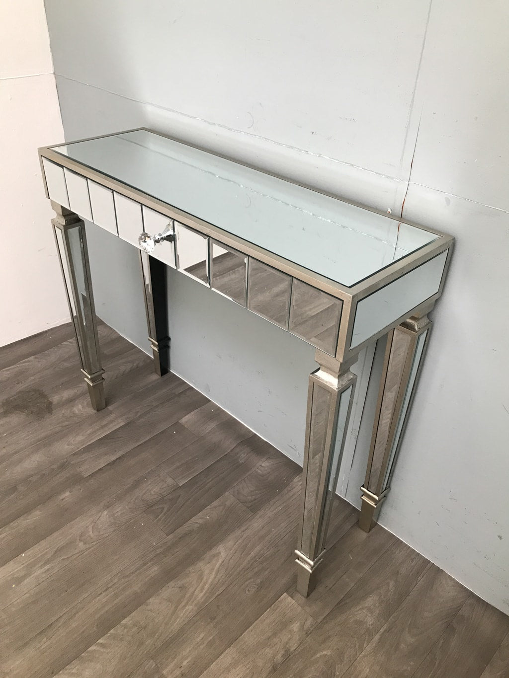 Mirrored Dressing Table Slim Silver Finish with one Drawer - Hollywood Collection