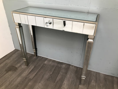 Mirrored Console Table Slim Silver Finish with one Drawer - Hollywood Collection