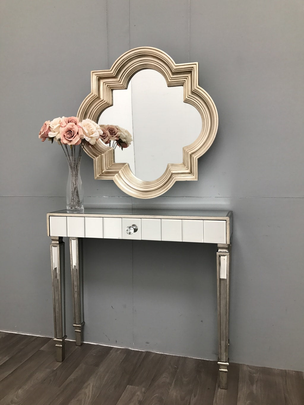 Hollywood Mirrored Table Slim Silver Finish with 1 Drawer