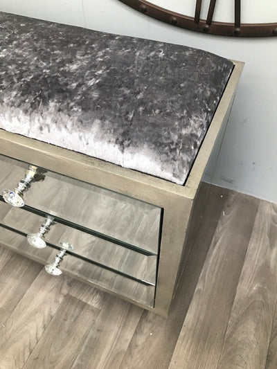 Hollywood Ottoman with 6 Drawers and Diamanté Handles
