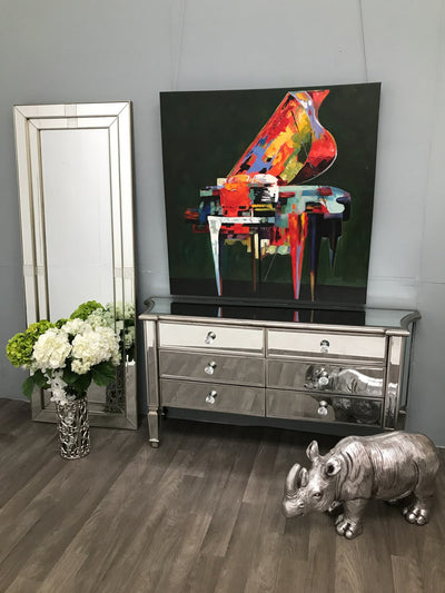Mirrored Sideboard With 6 Drawers And Modern Luxury Finish Marbella