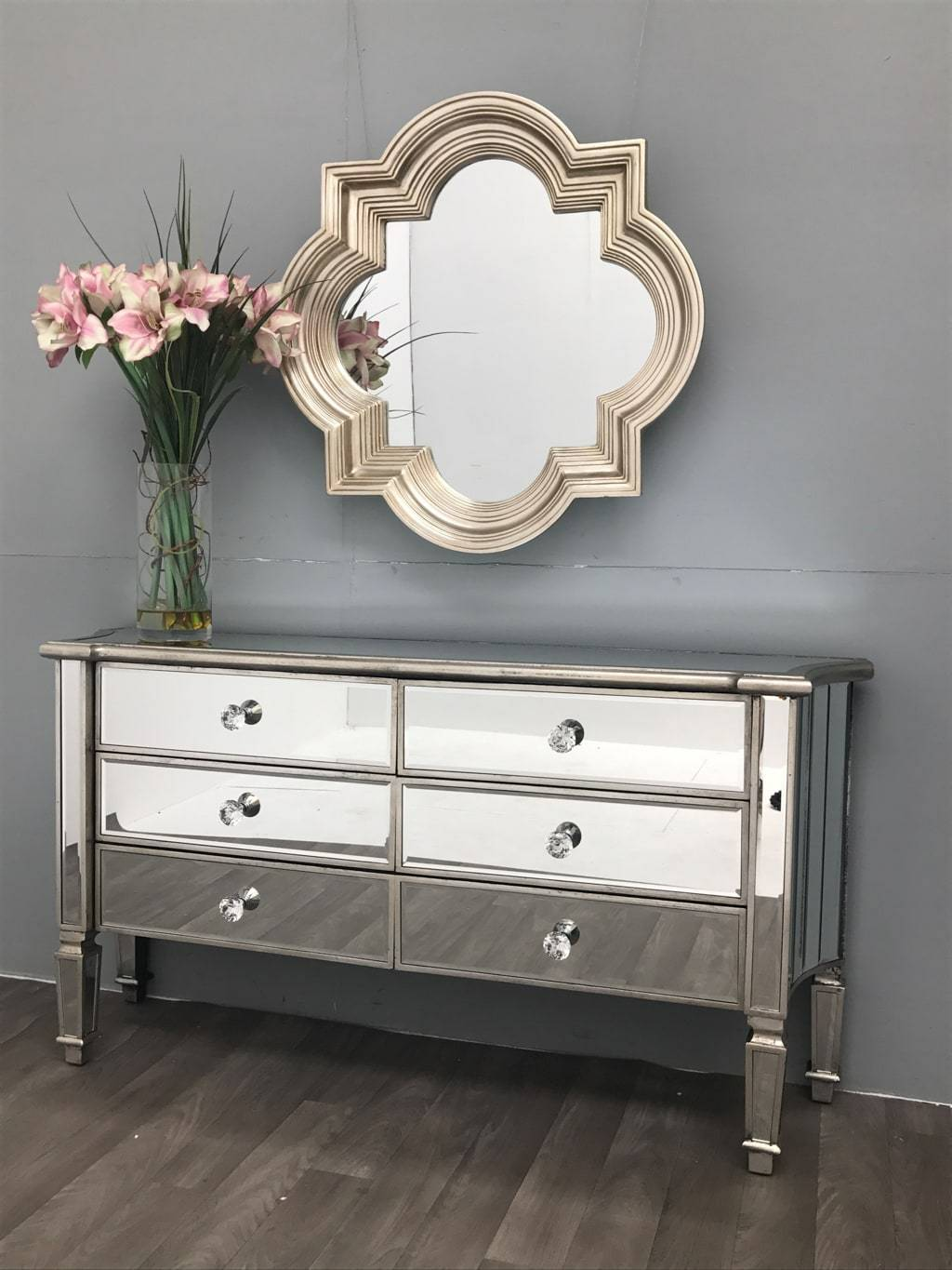 Mirrored Chest of 6 Drawers - Marbella Collection