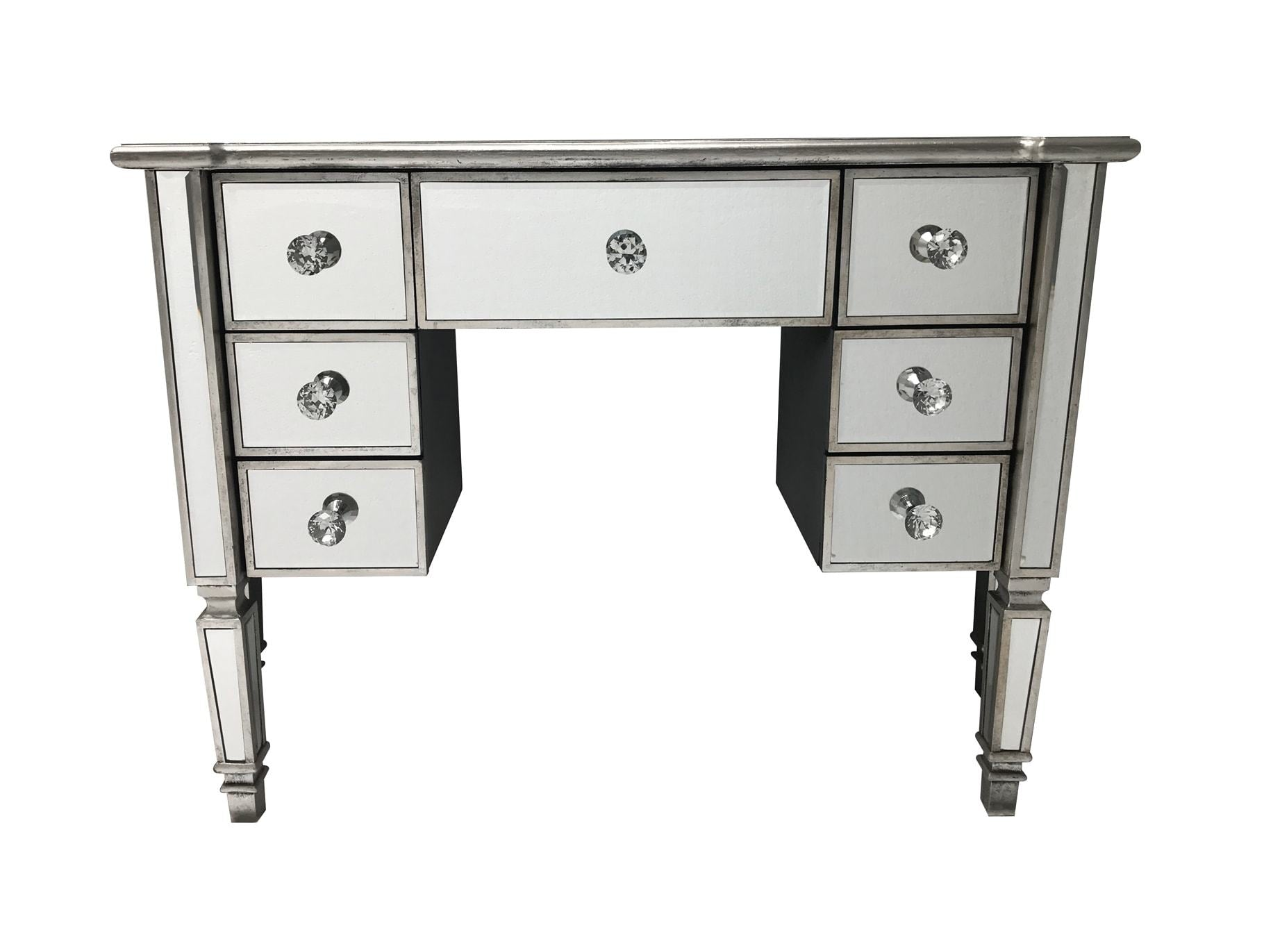 Mirrored dressing table with seven drawers, front view