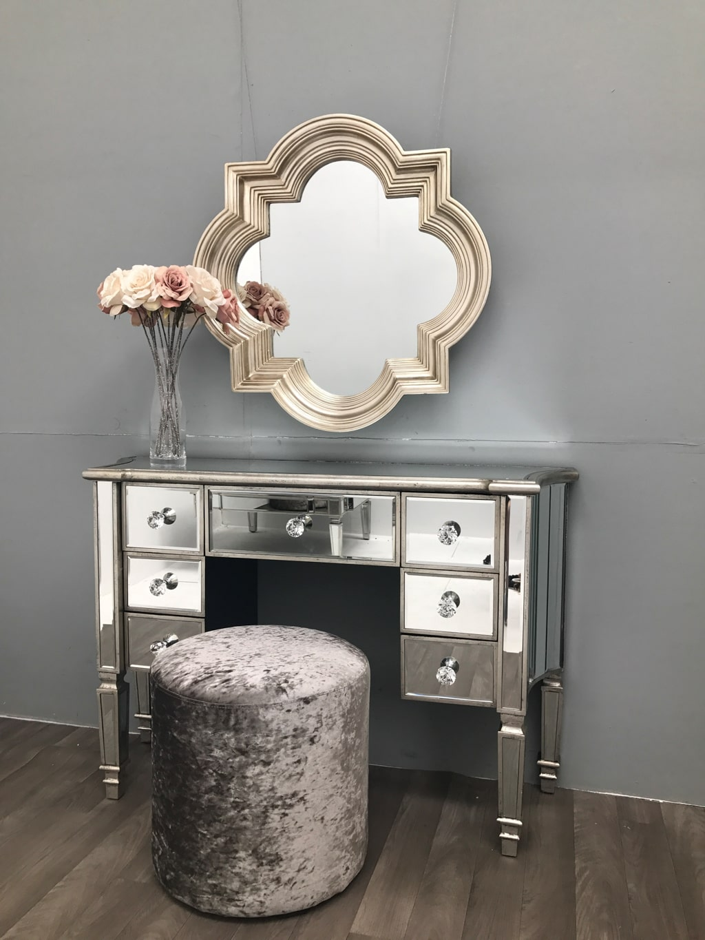 Mirrored Dressing Table With 7 Drawers - Modern Silver Edge Marbella