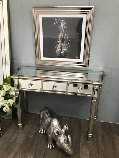 Mirrored Side Table With 3 Drawers in Silver Finish - Marbella Collection