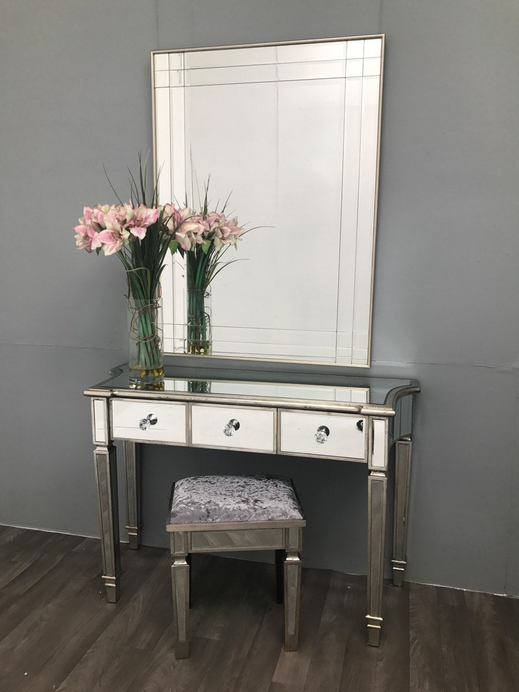 Mirrored Dressing Table With 3 Drawers - Marbella Collection