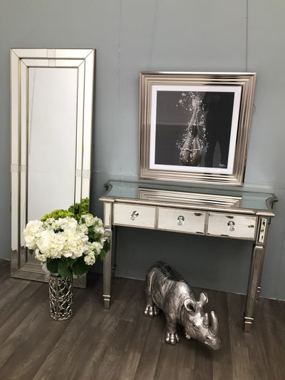 Mirrored Console Table With 3 Drawers - Luxurious Silver Edge Marbella