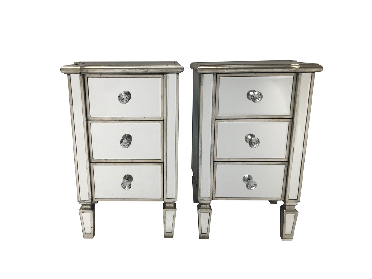 Marbella Pair of Mirrored Bedside Tables with 3 Drawers