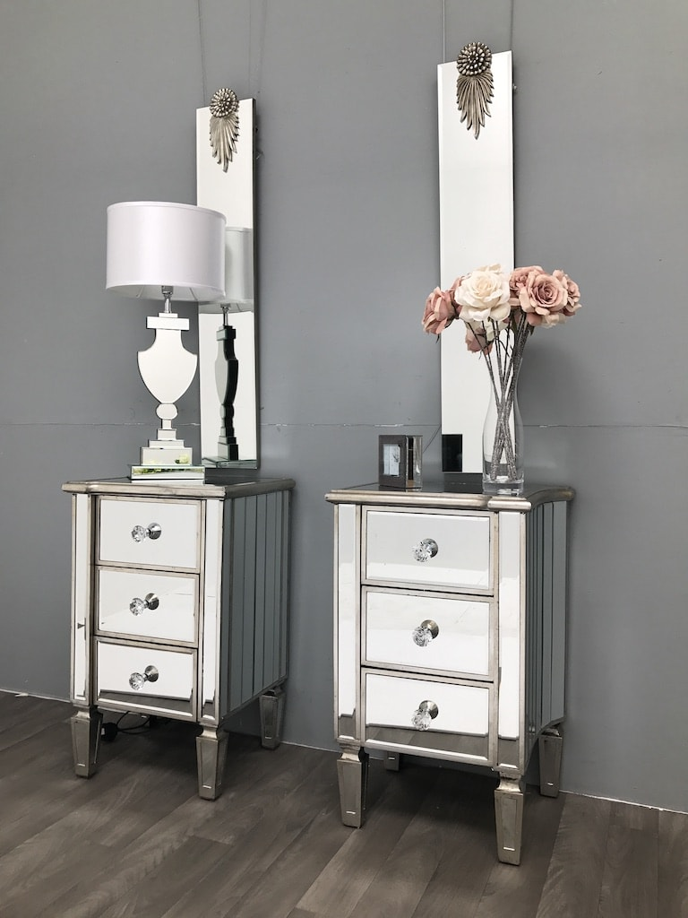 Pair of Mirrored Bedside Tables » 3 drawers Marbella