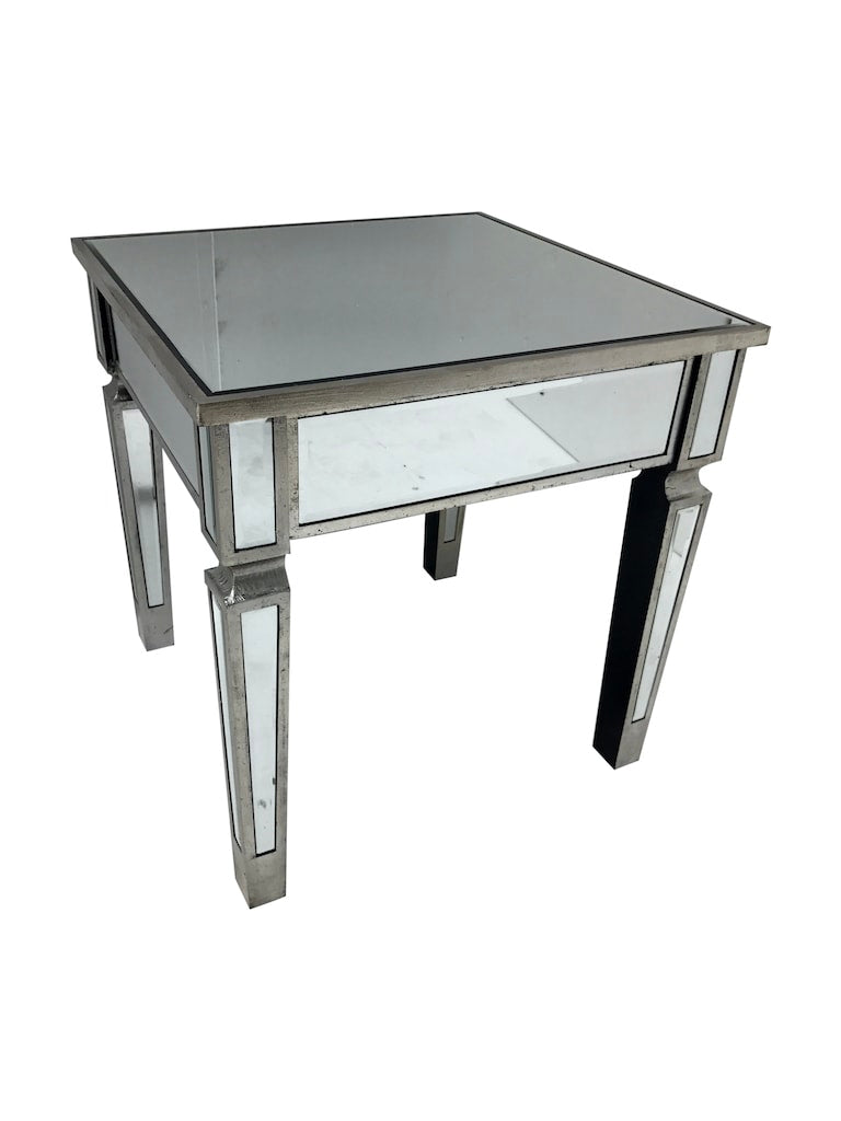 Silver Mirrored Side Table with wooden edge