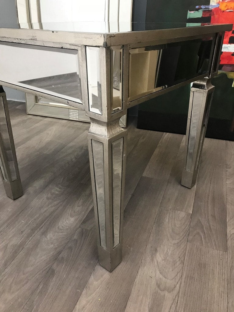 Small rectangle silver mirrored side table