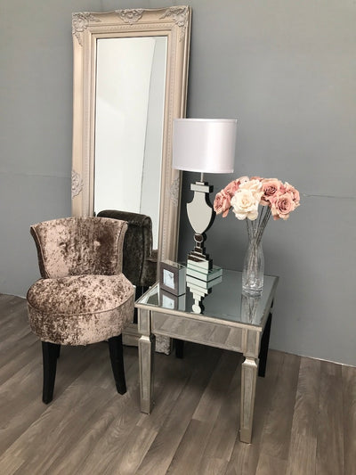 Mirrored Side Table With Vintage Wooden Edge And Mirror Top Charleston